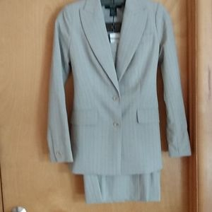 Skirt suit grey with pink pinstripes perfect condi